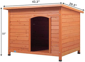 Pet Products Dog Club House Pet Shelter Home Outdoor Ground Wood Kennel Weather Resistant for Large Dogs Orange43.3 L x 29.5 W x 32.1 H