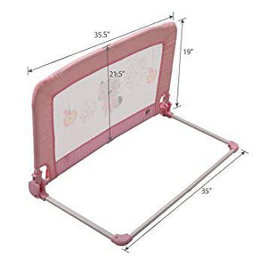 Pink Convertible Swing Down Baby Toddler Bed Rail Guard 19 -21.5 H