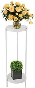 Plant Stand Mid Century Metal 2-Tier Tall Flower Plant Pot Holder Display Rack for Indoor Outdoor w 2 Trays 35.4 inches White
