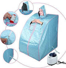 Portable 2L Steam Sauna Spa Full Body Slimming Loss Weight Detox Therapy wChair Blue