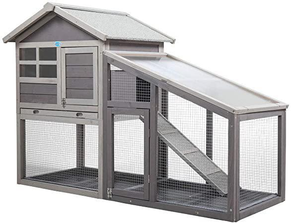Rabbit Hutch Wooden Bunny Coop Hen House Outdoor Two-Story Animal Pet cage Garden Backyard with Run 2 ColorsRedGray and White