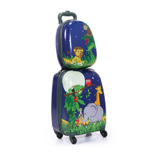 "2Pc 12"" 16"" Kids Carry On Luggage Set Upright Side Hard Hard Shell Suitcase"