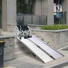 6' Folding Portable Wheelchair Scooter Ramp Mobility Handicap Suitcase Threshold with Handle Nonslip Traction Sliver