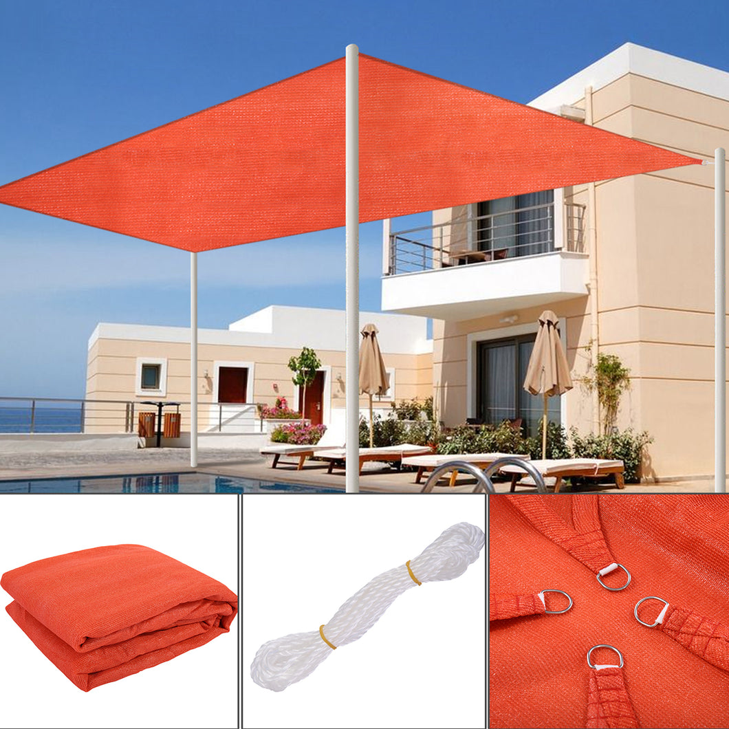 Sun Shade Sail Outdoor Top Canopy Patio UV Block 13' x 20' Rectangle Orange-red