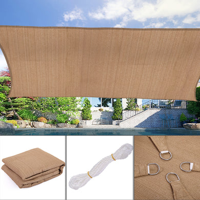 Sun Shade Sail Outdoor Top Canopy Patio UV Block 16' x 20' Rectangle Desert Sand