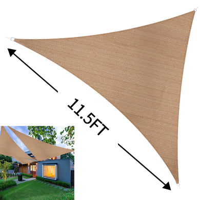 Sun Shade Sail Outdoor Top Canopy Patio UV Block 11.5' Triangle Desert Sand