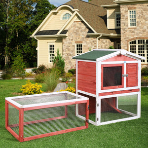 "Wooden Chicken Coop 61"" Hen House Rabbit Wood Hutch Poultry Cage Habitat"