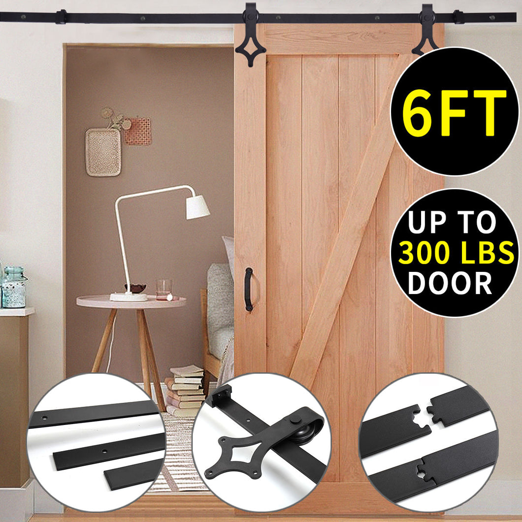 Black 6 FT Stainless Steel Sliding Track Barn Wood Door Closet Hardware Set