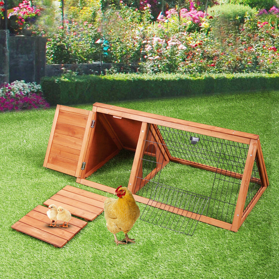 Wooden Chicken Coop Triangle Rabbit Hutch Pet Cage Small Animal Poultry Cage Run