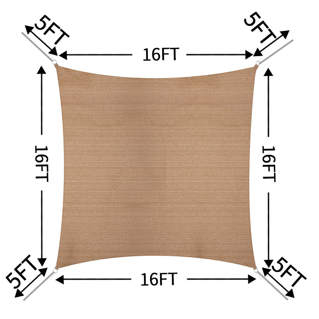 Sun Shade Sail Outdoor Top Canopy Patio UV Block 16' Square Desert sand
