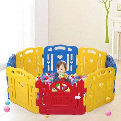 Baby Playpen 8 Panel Foldable Kids Safety Play Fence Indoor/Outdoor