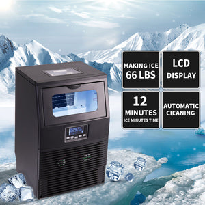 New Intelligent Automatic Commercial Ice Maker Rapid Ice Cube Machine w/LCD Disp