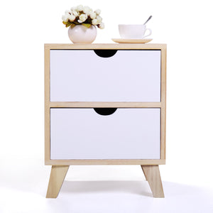 Light Walnut Mid Century Modern Nightstand/Side End Table with 2 White Drawers