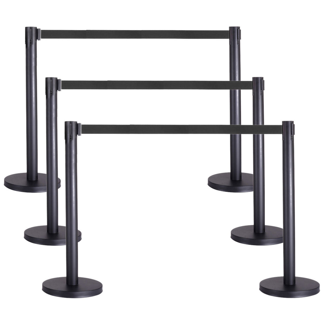 6pcs Retractable Belt Stanchion, 3 Sets, Black Belt, Crowd Control Barrier