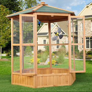 Large Wooden Hexagonal Bird Aviary Cage Birds Pets Parrot Canary