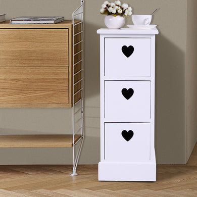 Narrow Bedroom Bedside Nightstand Table with Drawers Wooden Cabinet