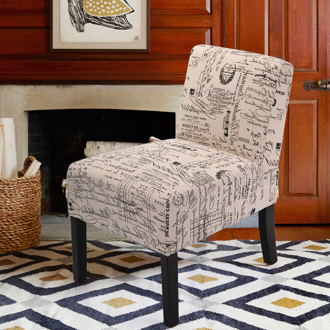 Contemporary English Letter Print Accent Chair Dining Side Chair Leisure Chair