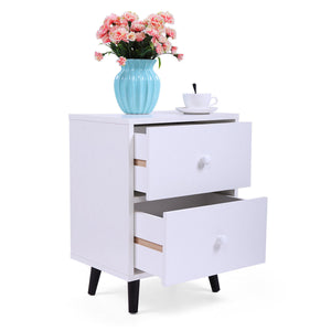 White Accent Side End Table Nightstand Furniture Bedroom W/2 Drawers