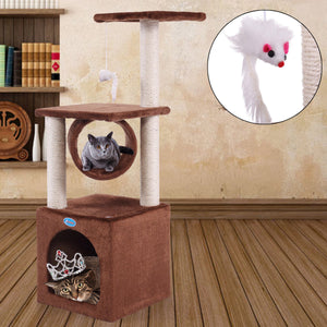 "36"" Deluxe Cat Tree Condo Scratcher Coffee w/paw print"