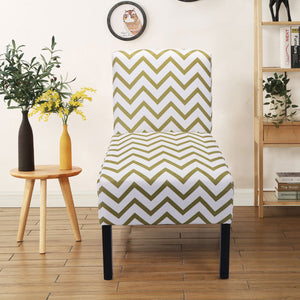 Contemporary Olive Wave Print Accent Chair Dining Side Chair Leisure Chair