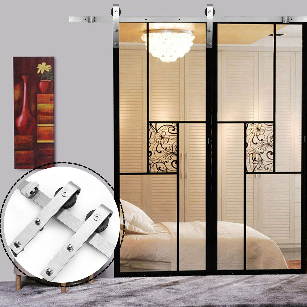 6ft Stainless Steel Sliding Single door Barn Wood Door Hardware Track Kit