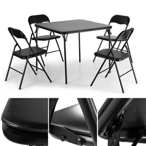 5 PCS Folding Camping Dining Table Set Table and 4 Chairs Black Card Game Party