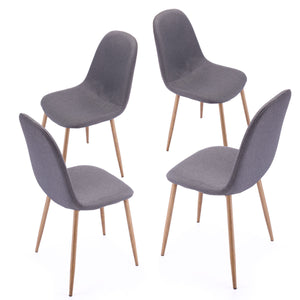 Set of 4 Retro Eames Style Dining Side Chairs Grey Thick Padded Wood Leg
