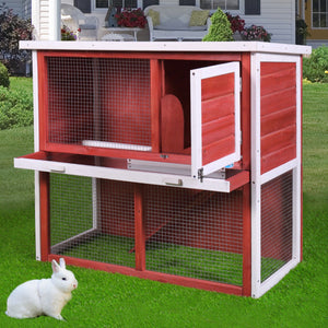 "Waterproof 36"" Wooden Chicken Coop Hen House Rabbit Wood Hutch Poultry Cage Red"