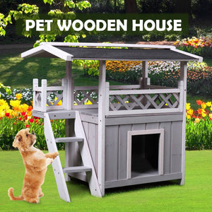 Wooden Pet House Cat Room Dog Puppy Kennel Indoor Outdoor Shelter with Roof Grey