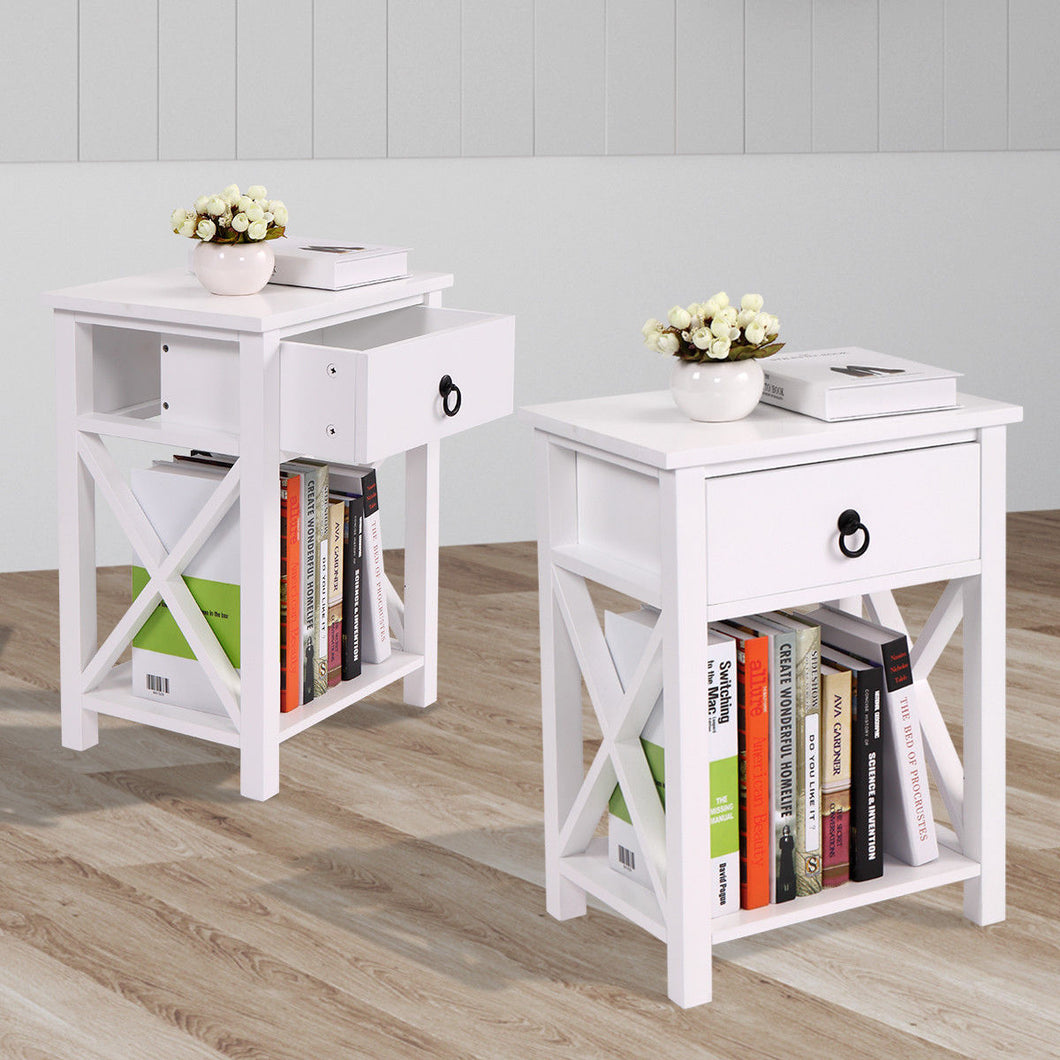 Set of 2 White Nightstand End Side Bedside Table W/Drawer