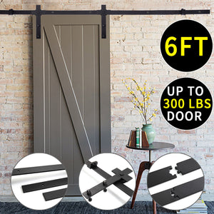 6 Ft Steel Sliding Barn Door Closet Hardware Track Set Antique Style Black