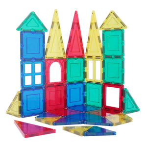 32-Piece Clear Multi-Color Magnetic Tiles Deluxe Building Set Kid Child Toy