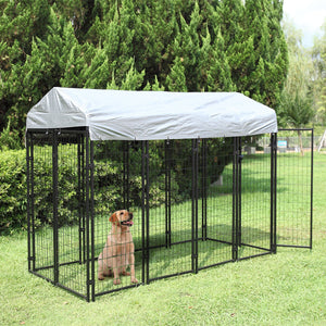 Welded Wire Dog Kennel Outdoor Rainproof Cover Protection Cage Shade Steel Large