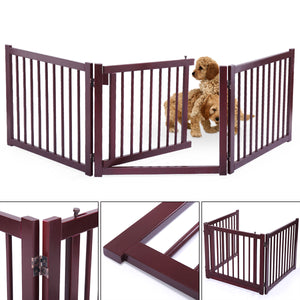 "Wood Pet Dog 3 Panel 24"" Configurable Folding Free Standing Safety Fence w/ Gate"