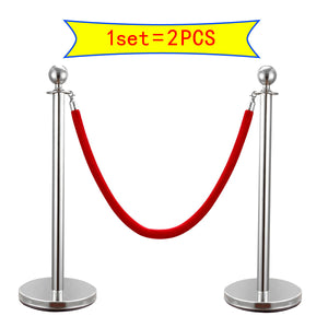 2PCS Silver Stainless Steel Stanchion Posts w/ 59''Red Burgundy Polyester Rope