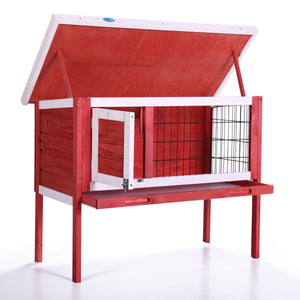 35'' Wooden Poultry Cage Rabbit Hutch Cage Chicken Coop Hen House Pet Animal Run
