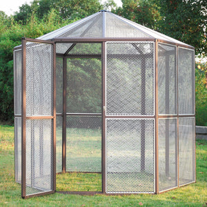 "93"" Large Walk in Aviary Hexagonal Flight House Cage Ideal for Birds Parrot Cat"