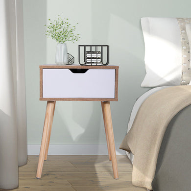 Wooden Accent End Table Nightstand Wood Legs with One drawer 23.1