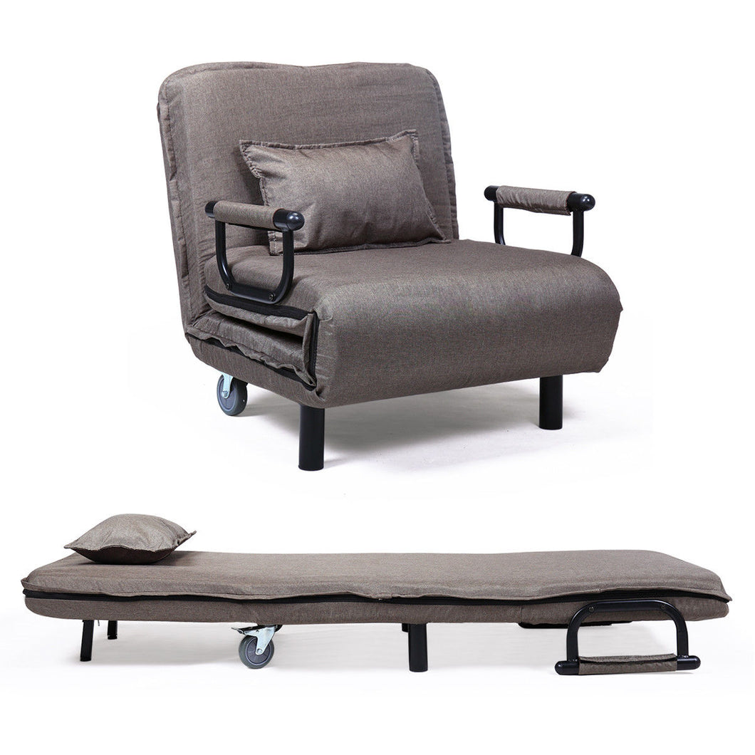 Folding Armchair Convertible Sofa Bed Sleeper Leisure Recliner Couch with Pillow