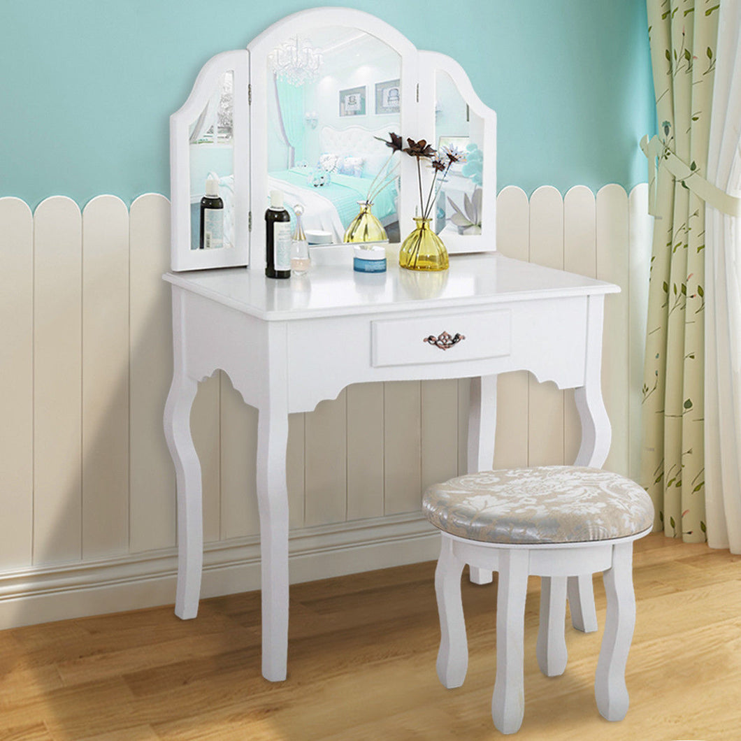 White Folding Wood Makeup Dressing Table Stool Set Vanity Table with Drawers