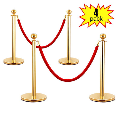 4PCS Red Velvet Stanchion Rope Set Gold Post Crowd Control Queue Line Barrier