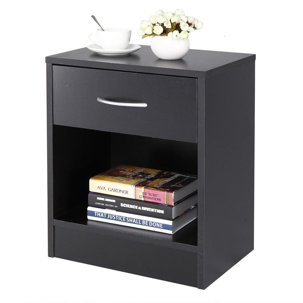 Black Nightstand End Table Bedroom Bedside Storage Shelf Furniture Shelf Drawer
