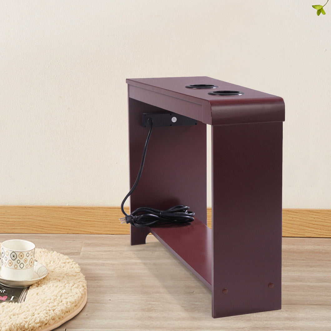 Home Office Wood Table End Table - Rectangular with 2 USB Ports - Contemporary