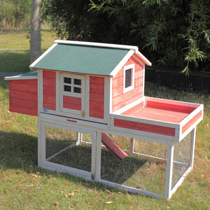 "65"" Wooden Chicken House Coop Hen Pet Animal Poultry Cage Rabbit Hutch w/Run"