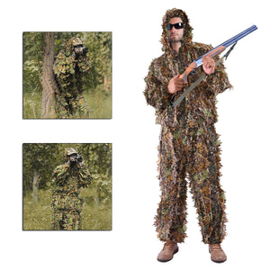 Leaf Ghillie Suit Woodland Camo Camouflage Clothing 3D jungle Hunting M/L