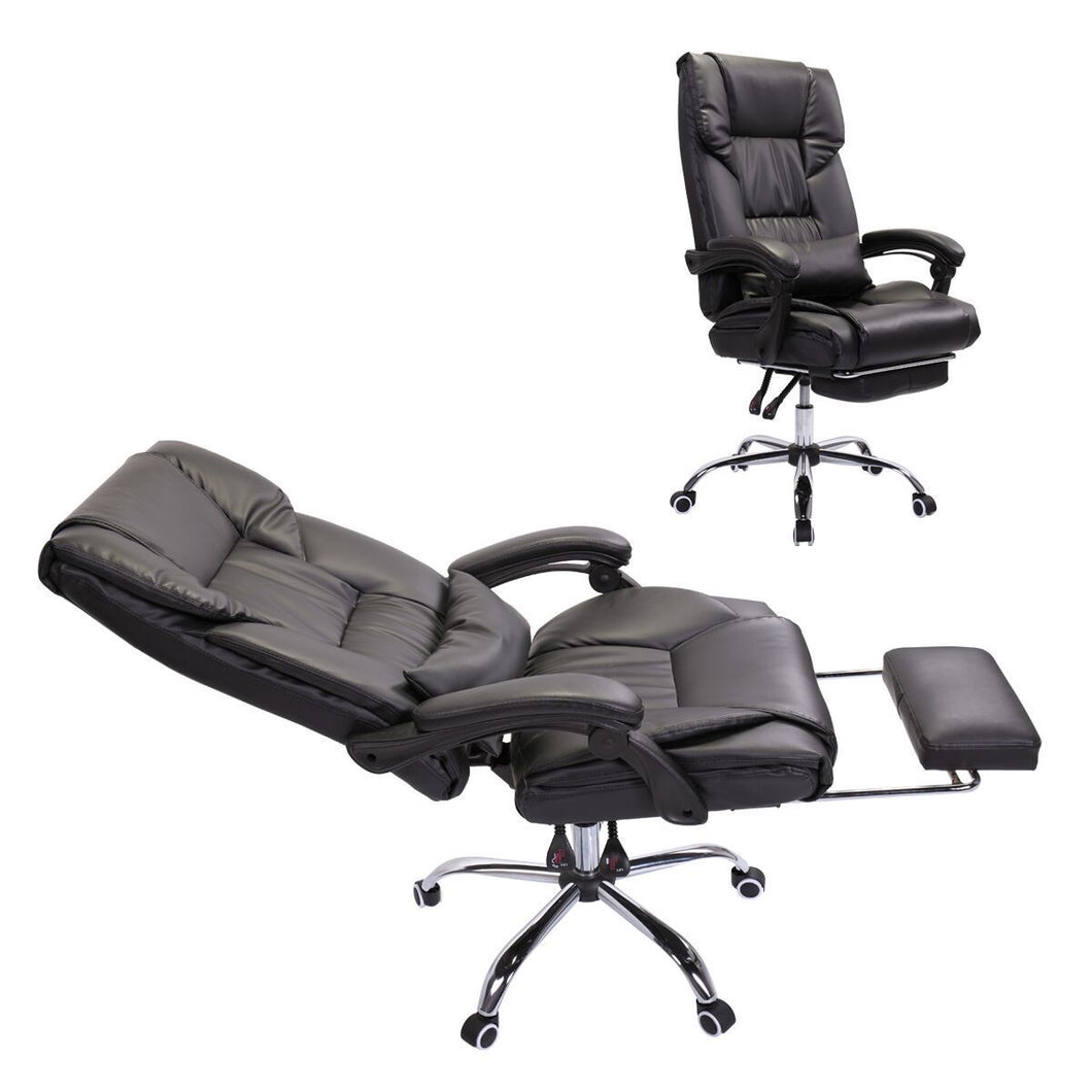 PU Leather High Back Executive Office Chair With Footrest, Black