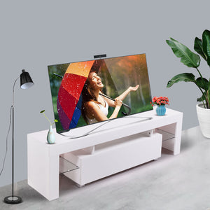High Gloss TV Stand Unit Cabinet Console with Drawer LED Shelves White