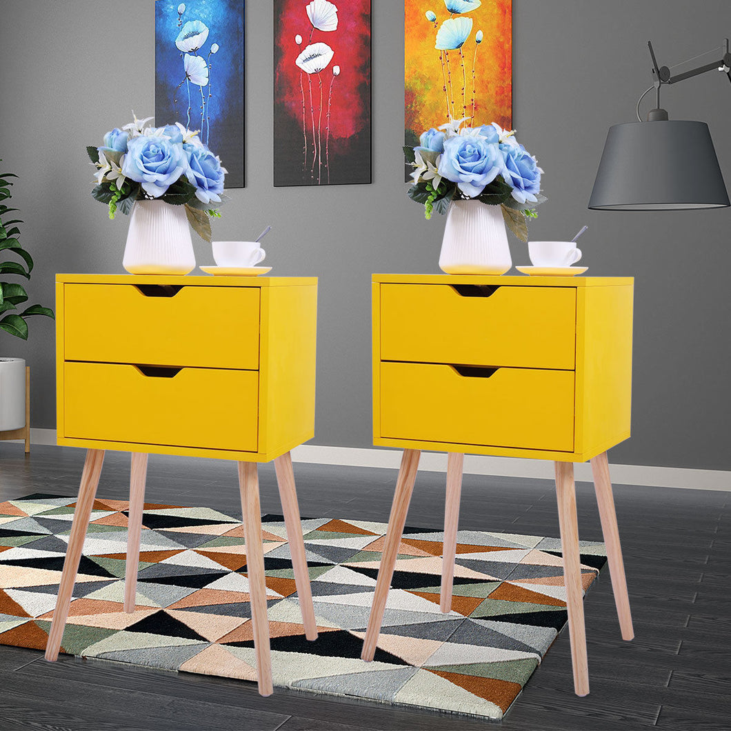 Bedroom Bedside Furniture Nightstand Set of 2 End/Side Table w/ 2 Drawer Yellow