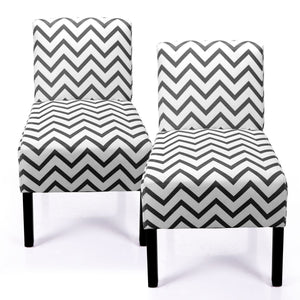 Set of 2 Dining Room Chairs Classic Fabric with Solid Wood Legs