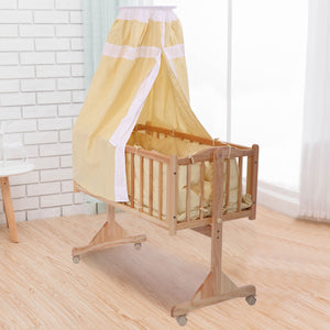 Mini Crib Baby Cradle Infant Solid Wood Baby Toddler Nursery Circular Canopy